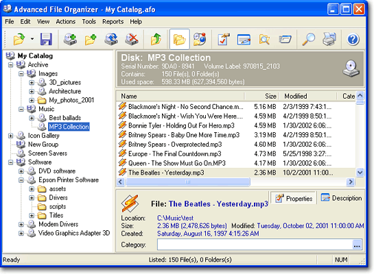 Advanced File Organizer. Main window