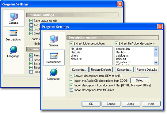Advanced File Organizer. Program settings